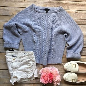 J Crew Cropped Cable Knot Sweater